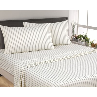 Posen Thin Stripe 300 Thread Count 6 Piece Satin Sheet Set Size: Full, Color: Dark Gray/White
