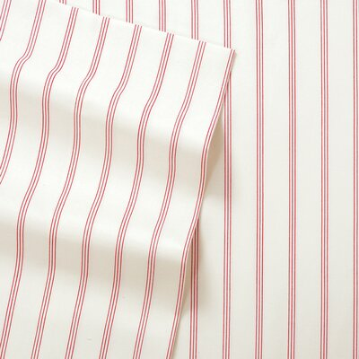 Posen Thin Stripe 300 Thread Count 6 Piece Satin Sheet Set Size: Full, Color: Red/White