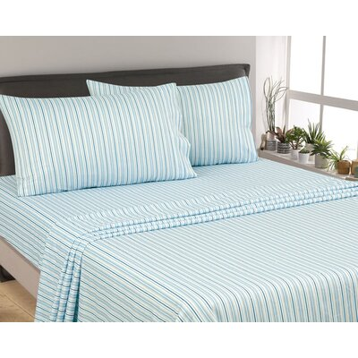 Posen Stripe 300 Thread Count 6 Piece Satin Sheet Set Size: Queen, Color: Aqua/White