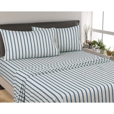 Posen Stripe 300 Thread Count 6 Piece Satin Sheet Set Size: Full, Color: White/ Blue
