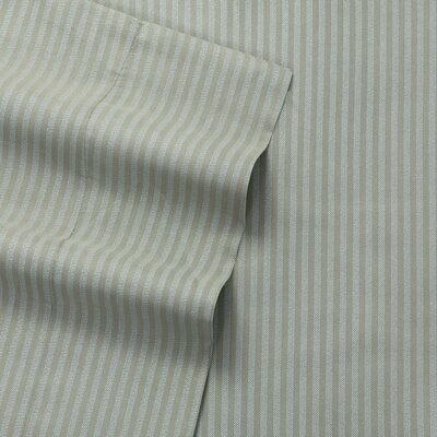 Greenwich Candy Stripe 300 Thread Count Satin Sheet Set Size: Full, Color: Gray
