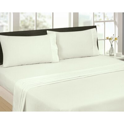 Greenwich Candy Stripe 300 Thread Count Satin Sheet Set Size: Full, Color: Ivory
