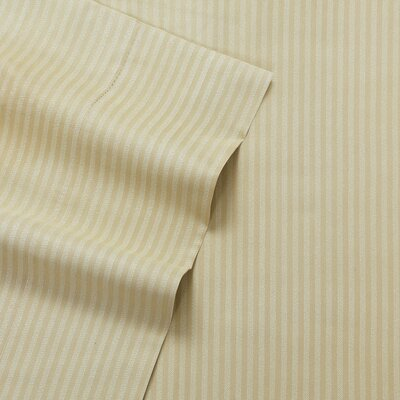 Greenwich Candy Stripe 300 Thread Count Satin Sheet Set Size: Queen, Color: Khaki