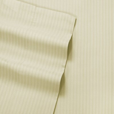 Greenwich Candy Stripe 300 Thread Count Satin Sheet Set Size: Twin, Color: Sandstone