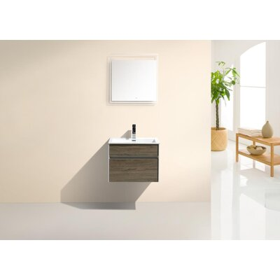Brockman 24 Single Bathroom Vanity Set Base Finish: Havana Oak