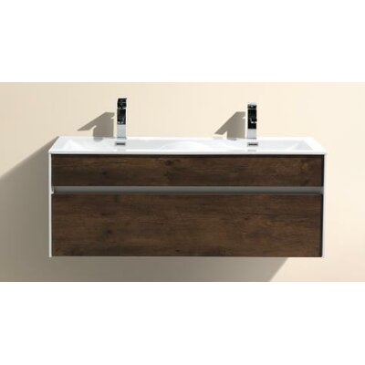 Brockman 47 Double Bathroom Vanity Set Base Finish: Rose Wood