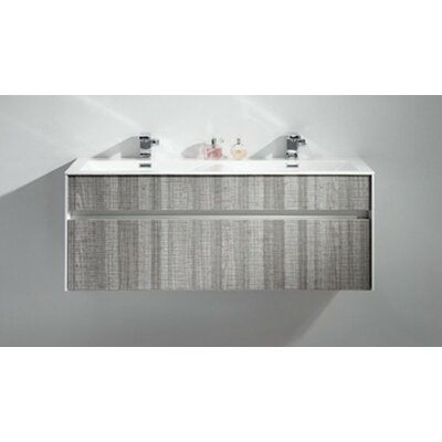 Brockman 47 Double Bathroom Vanity Set Base Finish: White Gloss