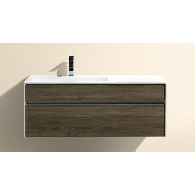 Brockman 48 Single Modern Bathroom Vanity Set Base Finish: Havana Oak