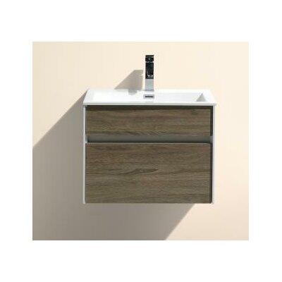 Fitto 24 Single Modern Bathroom Vanity Set Base Finish: Havana Oak