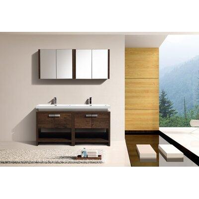 Haycraft 63 Double Bathroom Vanity Set Base Finish: Rose Wood