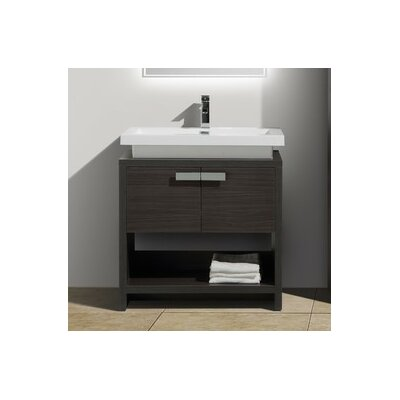 Levi 31.5 Single Modern Bathroom Vanity Set Base Finish: Dark Gray Oak