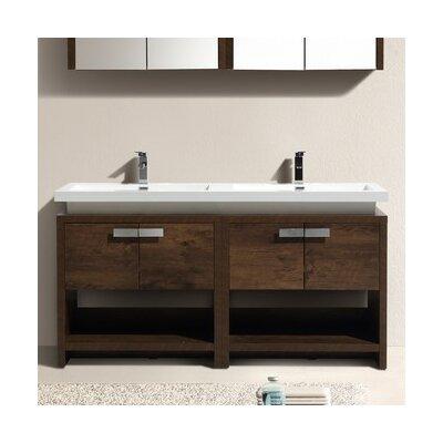 Levi 63 Double Modern Bathroom Vanity Set Base Finish: Rose Wood