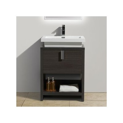 Levi 23.5 Single Modern Bathroom Vanity Set Base Finish: Dark Gray Oak