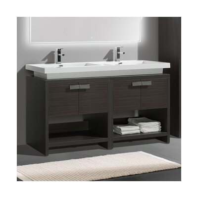 Levi 63 Double Modern Bathroom Vanity Set Base Finish: Dark Gray Oak