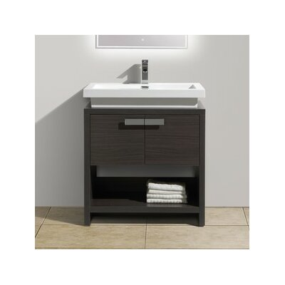Levi 29.5 Single Modern Bathroom Vanity Set Base Finish: Dark Gray Oak