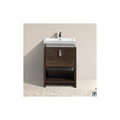 Haycraft 23.5 Single Modern Bathroom Vanity Set Base Finish: Rose Wood