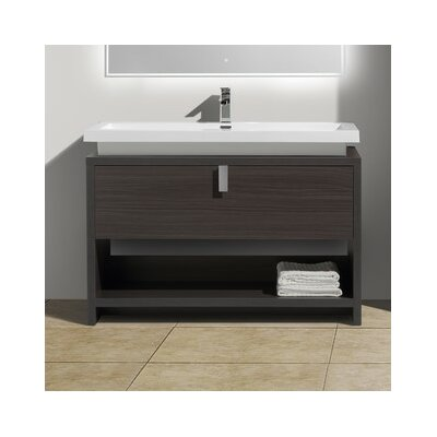 Haycraft 47.25 Single Modern Bathroom Vanity Set Base Finish: Dark Gray Oak