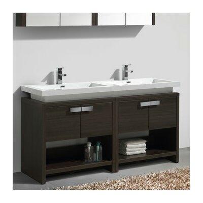 Levi 63 Double Modern Bathroom Vanity Set Base Finish: Gray Oak