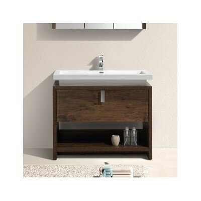 Levi 39.5 Single Modern Bathroom Vanity Set Base Finish: Rose Wood