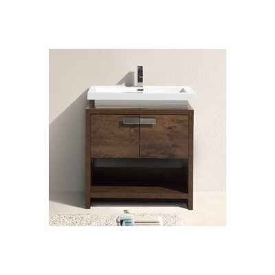Haycraft 31.5 Single Modern Bathroom Vanity Set Base Finish: Rose Wood