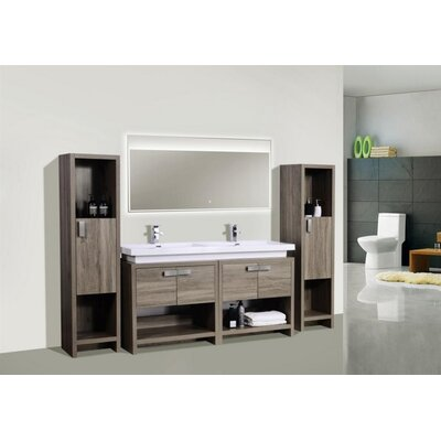 Haycraft 63 Double Bathroom Vanity Set Base Finish: Havana Oak
