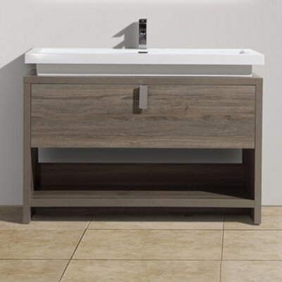 Levi 47.25 Single Modern Bathroom Vanity Set Base Finish: Havana Oak