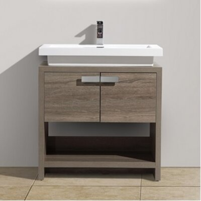 Levi 29.5 Single Modern Bathroom Vanity Set Base Finish: Havana Oak
