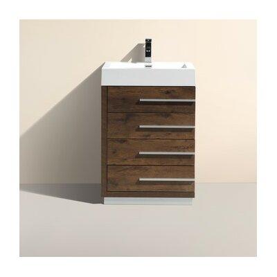24 Single Modern Bathroom Vanity Base Finish: Rose Wood
