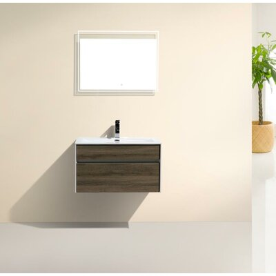 Fitto 32 Single Modern Bathroom Vanity Set Base Finish: Havana Oak