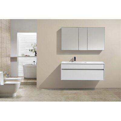 Brockman 48 Single Modern Bathroom Vanity Set Base Finish: White Gloss