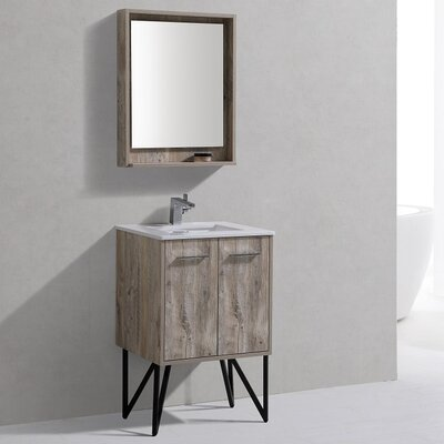 Ellison Nature Wood 24 Single Bathroom Vanity with Mirror
