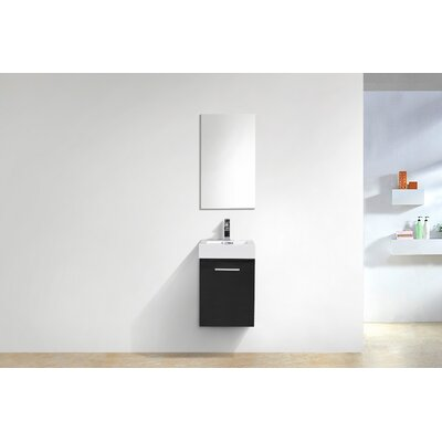Tenafly Wall Mount Modern 16 Single Bathroom Vanity Base Finish: Black Wood