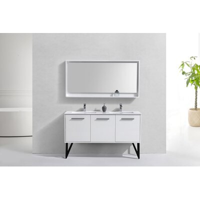 Almaraz 59 Double Bathroom Vanity Set with Mirror