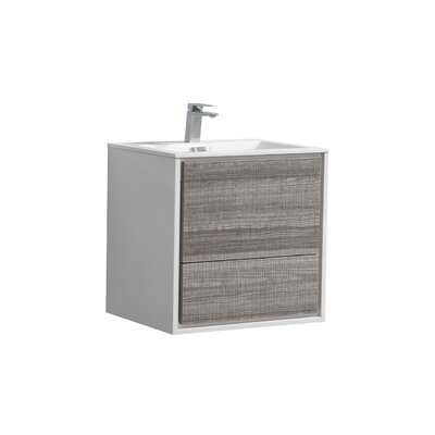 Trieu 24 Single Bathroom Vanity Set Base Finish: Gloss White/Gray
