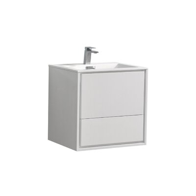 Trieu 24 Single Bathroom Vanity Set Base Finish: Gloss White