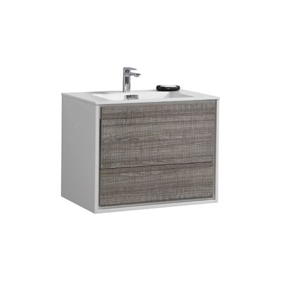 Trieu 30 Single Bathroom Vanity Set Base Finish: Gloss White/Gray
