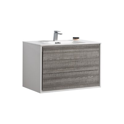 Trieu 36 Single Bathroom Vanity Set Base Finish: Gloss White/Gray