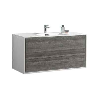 Trieu 48 Single Bathroom Vanity Set Base Finish: Gloss White/Gray
