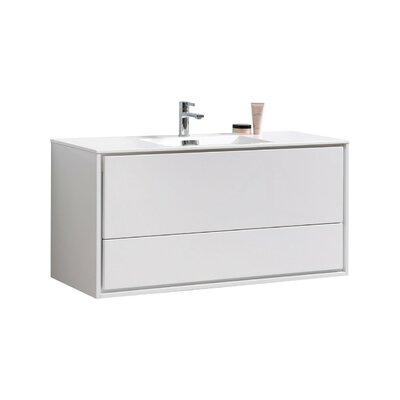 Trieu 48 Single Bathroom Vanity Set Base Finish: Gloss White