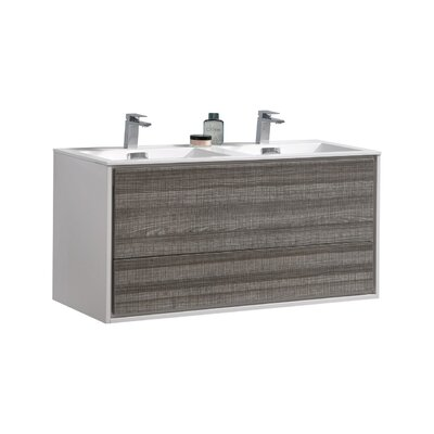 Trieu 48 Double Bathroom Vanity Set Base Finish: Gloss White/Gray