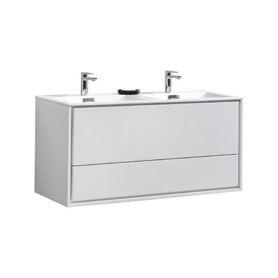 Trieu 48 Double Bathroom Vanity Set Base Finish: Gloss White