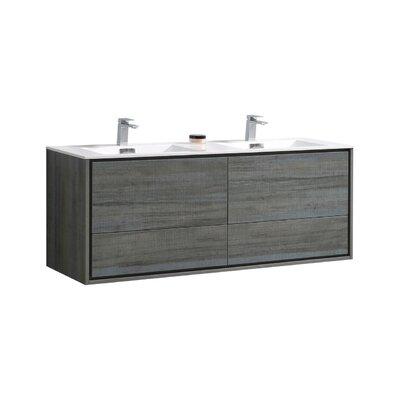 Trieu 60 Double Bathroom Vanity Set Base Finish: Ocean Gray
