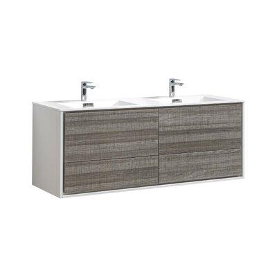 Trieu 60 Double Bathroom Vanity Set Base Finish: Gloss White/Gray