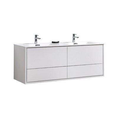Trieu 60 Double Bathroom Vanity Set Base Finish: Gloss White