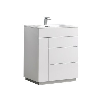 Ebling 35 Single Bathroom Vanity Set Base Finish: White