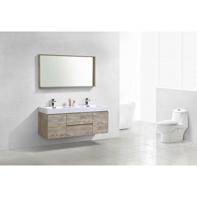 Tenafly 60 Double Wall Mount Modern Bathroom Vanity Set Base Finish: Nature Wood