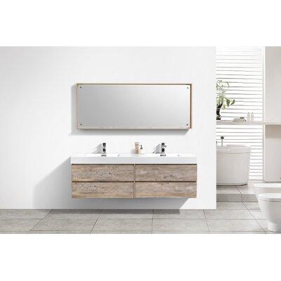 Tenafly Wall Mount 72 Double Modern Bathroom Vanity Set Base Finish: Nature Wood