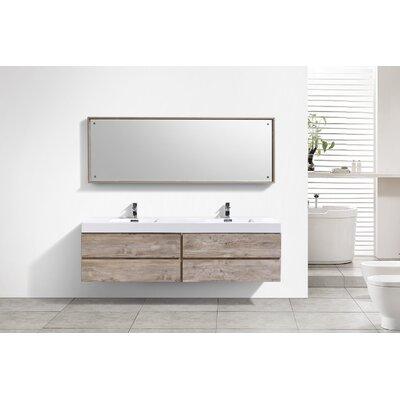 Tenafly Wood 80 Double Modern Bathroom Vanity Set Base Finish: Nature Wood