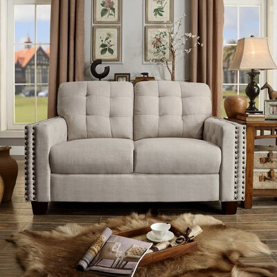 Delicia Tufted Loveseat Color: Beige