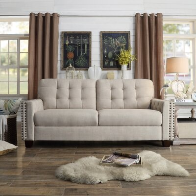 Delicia Tufted Sofa Color: Beige